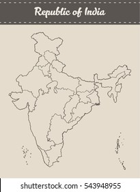 Map of the Republic of India with separable borders, hand drawn vector illustration, sketch