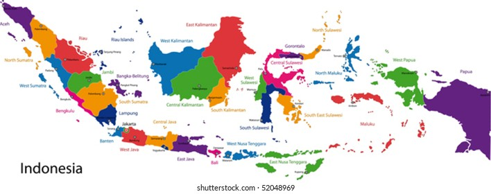 indonesia map images stock photos vectors shutterstock https www shutterstock com image vector map republic indonesia provinces colored bright 52048969