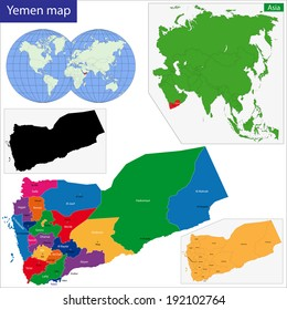 Map of the Republic of Yemen drawn with high detail and accuracy