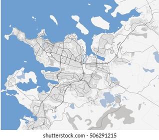 Map of Reykjavik city. Iceland Roads