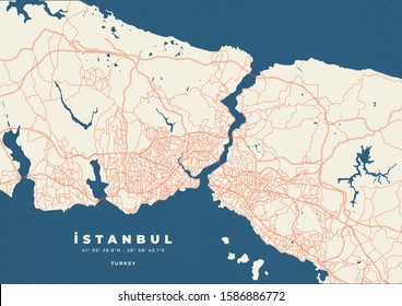 İstanbul Map Road Vector Poster Flyer