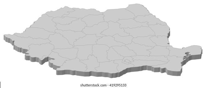 Map - Romania - 3D-Illustration