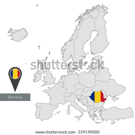 Map Romania Official Flag Location Europe Stock Vector (Royalty Free ...