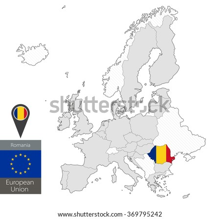Map Romania Official Flag Location On Stock Vector (Royalty Free ...