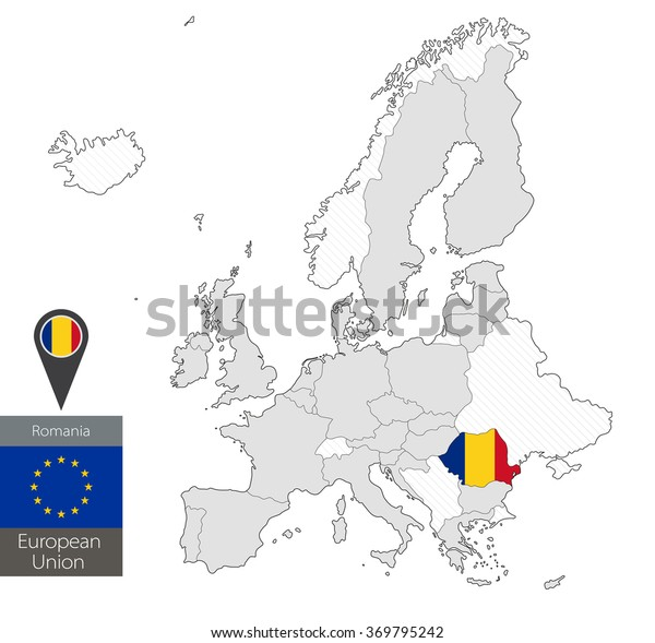 Map Romania Official Flag Location On Stock Vector (Royalty ...