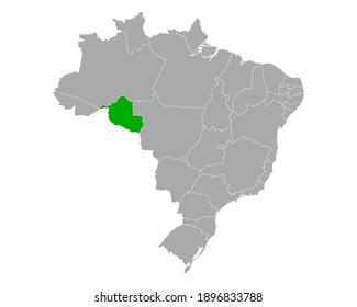Map of Rondonia in Brazil on white
