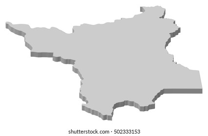 Map - Roramia (Brazil) - 3D-Illustration