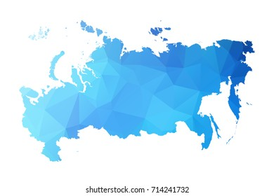 Map of Russia - Blue Geometric Rumpled Triangular , Polygonal Design For Your . Vector illustration eps 10.