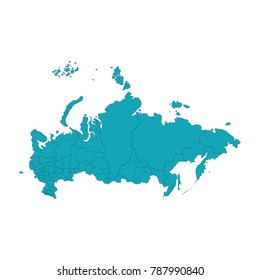 Map of Russia - Blue Geometric Rumpled Triangular , Polygonal Design For Your. High Detailed Blue Map of Russia isolated on white background. Vector illustration eps 10.