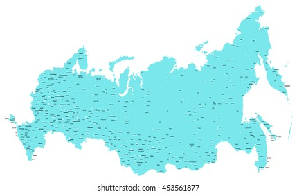 Map of Russia with city names in Russian