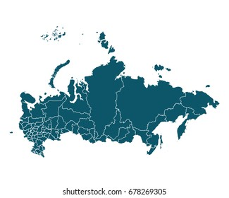 Map of Russia - High detailed on white background. Abstract design vector illustration eps 10.