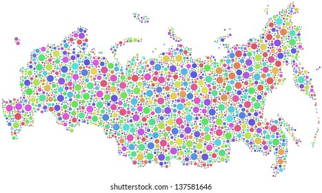 Map of Russia in a mosaic of harlequin bubbles. A number of 3189 little circles are accurately inserted into the mesh. White background.