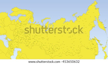 Map Russia Neighboring Countries City Names Stock Vector Royalty