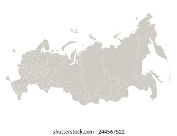 Map of Russia on white background. Vector illustration