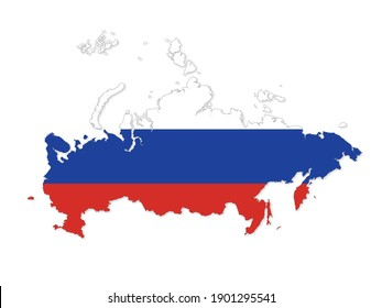 Map of Russia. Russian Federation map. Detailed country shape with flag isolated on white background. Vector illustration.