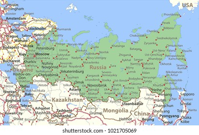 Map of Russia. Shows country borders,  place names and roads. Labels in English where possible.Projection: Lambert Conformal Conic.