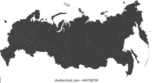 Map of Russia split into individual states. Highlighted Moscow (capital city).