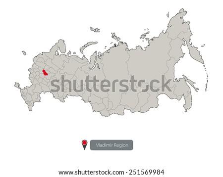 Vladimir Russia Map.Map Russia Vladimir Region Stock Vector Royalty Free 251569984