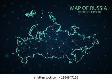 Map Russia. Wire Frame 3D mesh polygonal network line, design sphere,Russia map on dark background. Vector illustration eps 10.
