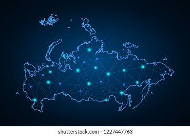 Map of Russia. Wire frame 3D mesh polygonal network line, design sphere, dot and structure. communications map of Russia. Vector Illustration EPS10.