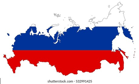 Map of Russian Federation with national flag isolated on white background