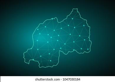 Map of Rwanda. Wire frame 3D mesh polygonal network line, design sphere, dot and structure. communications map of Rwanda. Vector Illustration EPS10.