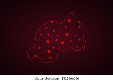 Map of Rwanda. Wire frame 3D mesh polygonal network line, design sphere, dot and structure. communications map of Rwanda. Vector Illustration EPS10. - Vector