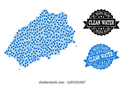 Map of Saint Helena Island vector mosaic and clean water grunge stamp. Map of Saint Helena Island designed with blue liquid drops. Seal with distress rubber texture for clean drinking water.