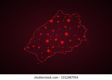Map of Saint Helena. Wire frame 3D mesh polygonal network line, design sphere, dot and structure. communications map of Saint Helena. Vector Illustration EPS10. - Vector
