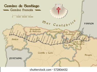 Map of Saint James way with all the stages of french way. Mapa del Camino de Santiago.