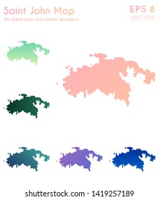 Map of Saint John with beautiful gradients. Authentic set of island maps. Emotional vector illustration.