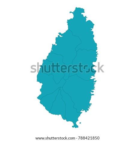 Map Saint Lucia High Detailed Blue Stock Vector (Royalty ...