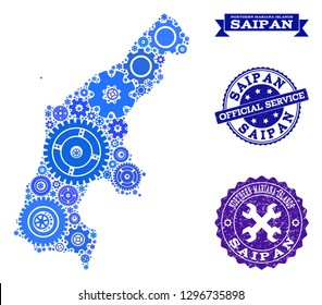 Map of Saipan Island created with blue gear symbols, and isolated scratched stamps for official repair services. Vector abstract mosaic of map of Saipan Island with work symbols in blue shades.