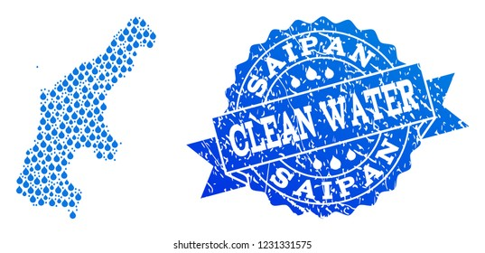 Map of Saipan Island vector mosaic and clean water grunge stamp. Map of Saipan Island formed with blue water raindrops. Seal with unclean rubber texture for clean drinking water.