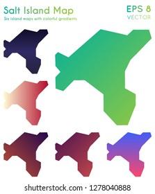 Map of Salt Island with beautiful gradients. Authentic set of Salt Island maps. Glamorous vector illustration.