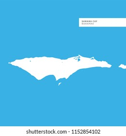 Map of Samana Cay Island,Bahamas, contains geography outlines for land mass, water, major roads and minor roads.