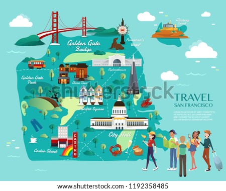 Map San Francisco Attractions Vector Illustration Stock Vector