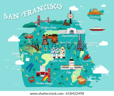 Map San Francisco Attractions Vector Illustration | Royalty ...