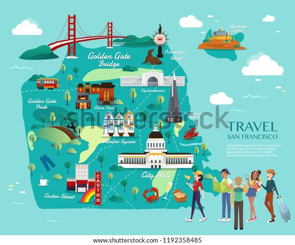 Map San Francisco Attractions Vector Illustration Stock ...