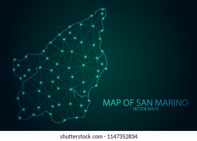 Map of San Marino - With glowing point and lines scales on The Dark Gradient Background, 3D mesh polygonal network connections. Vector illustration eps10.