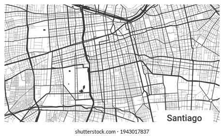 Map of Santiago city, Chile. Horizontal background map poster black and white land, streets and rivers. 1920 1080 proportions. Royalty free grayscale graphic vector illustration.