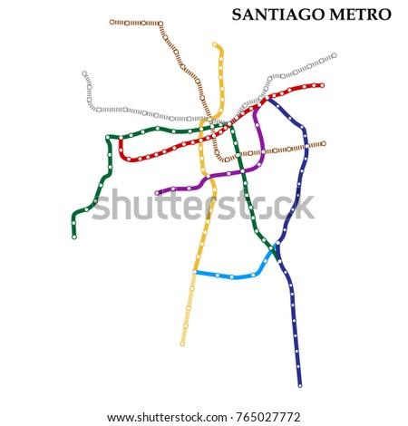 Santiago Subway Map.Map Santiago Metro Subway Template City Stock Vector Royalty Free