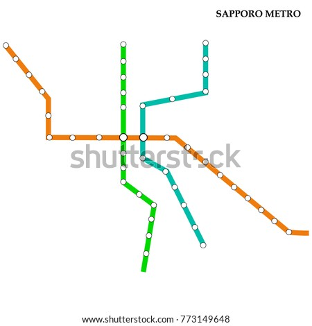 Sapporo Subway Map.Map Sapporo Metro Subway Template City Stock Vector Royalty Free