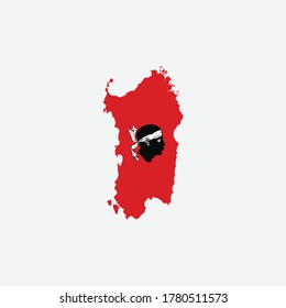 Map of Sardinia flag  - Italy state vector