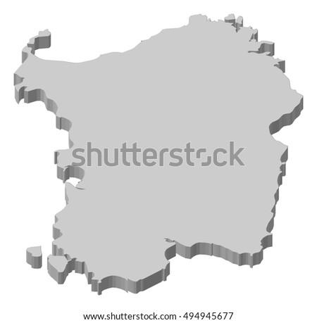 Map Sardinia Italy 3 D Illustration Stock Vector Royalty Free