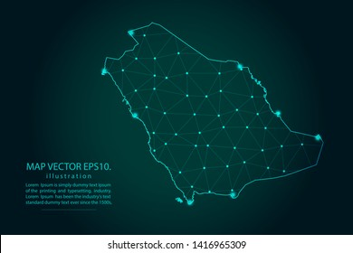 Map of saudi Arabia - Abstract mash line and point scales on dark gradient background. Wire Frame 3D mesh polygonal network line, design sphere, dot and structure. Vector illustration eps 10