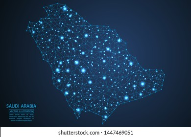 A map of Saudi Arabia consisting of 3D triangles, lines, points, and connections. Vector illustration of the EPS 10.