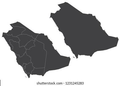Map - Saudi Arabia Couple Set , Map of Saudi Arabia,Vector illustration eps 10.