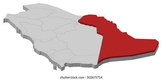Map - Saudi Arabia, Eastern Province - 3D-Illustration