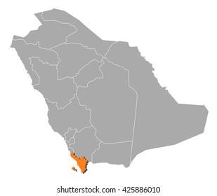 Map - Saudi Arabia, Jizan